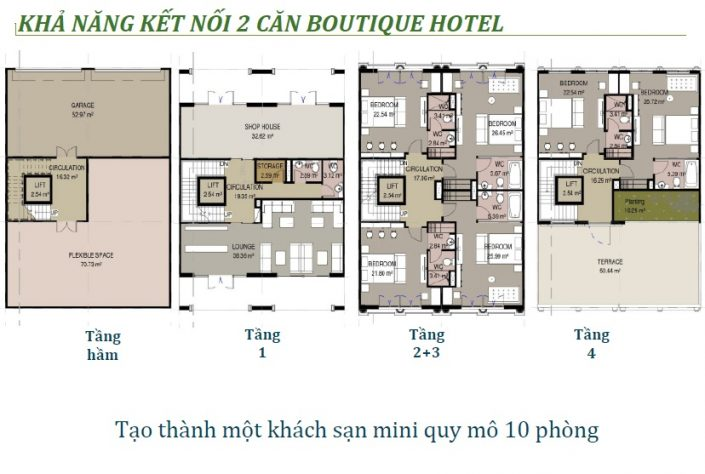 kết nói 2 căn Boutique Hotel