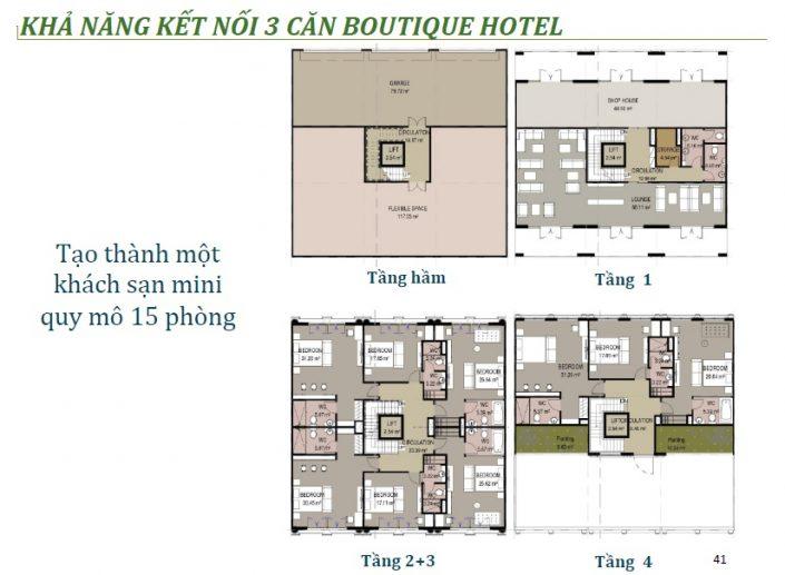 kết nói 3 căn Boutique Hotel