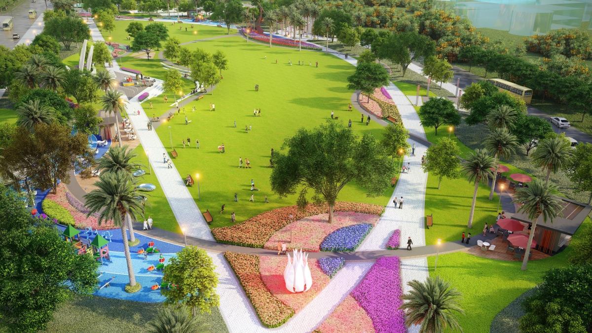 Điểm nhấn công viên xanh 7ha của Phu Quoc Marina kết nối các phân khu, là không gian bách bộ thư giãn cho du khách.