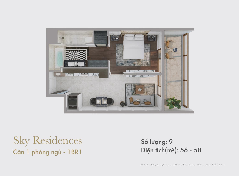 Sky Residences - Mặt bằng căn 1 phòng ngủ mẫu 1