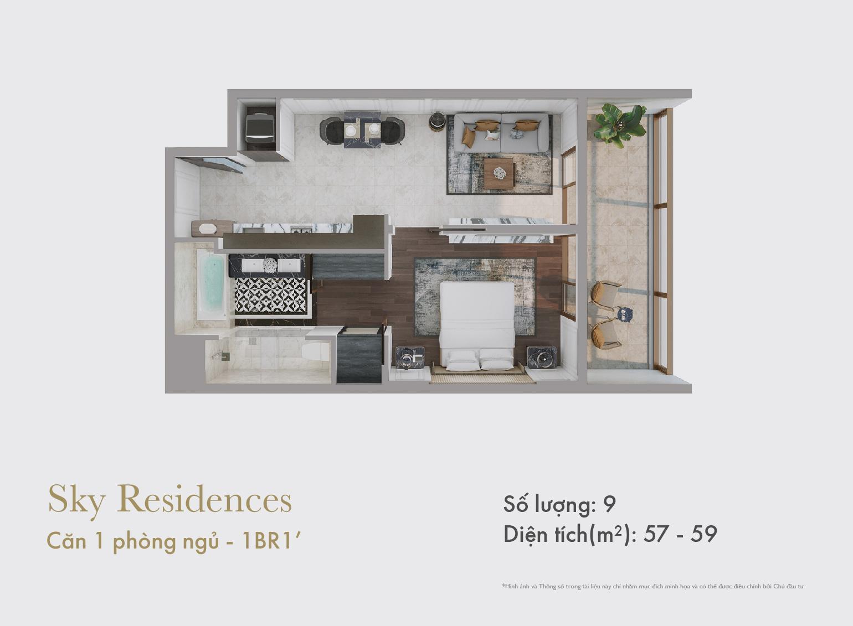 Sky Residences - Mặt bằng căn 1 phòng ngủ mẫu 2