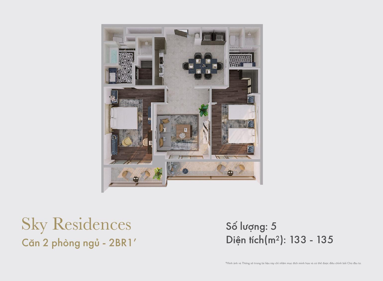 Sky Residences - Mặt bằng căn 2 phòng ngủ mẫu 1 dạng 2