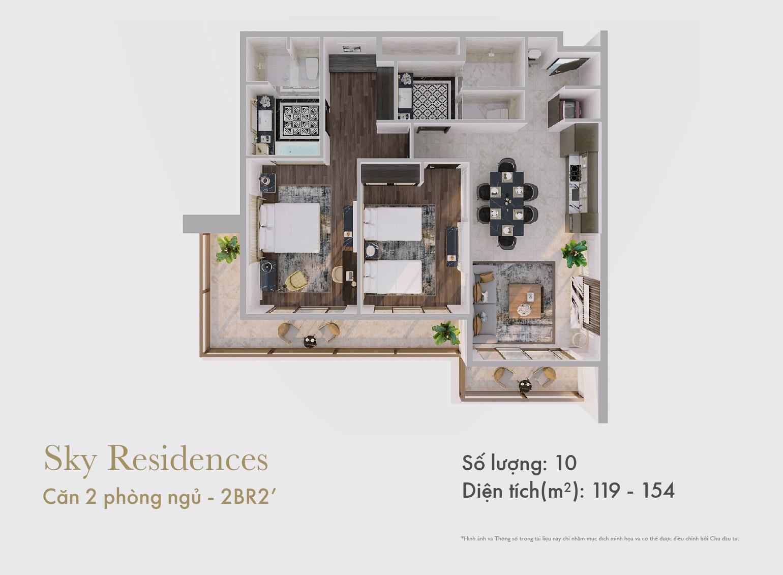 Sky Residences - Mặt bằng căn 2 phòng ngủ mẫu 2 dạng 1