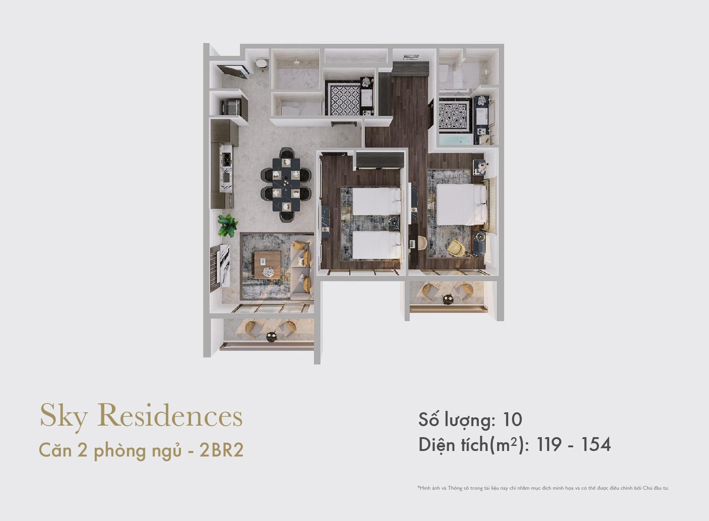 Sky Residences - Mặt bằng căn 2 phòng ngủ mẫu 2 dạng 2