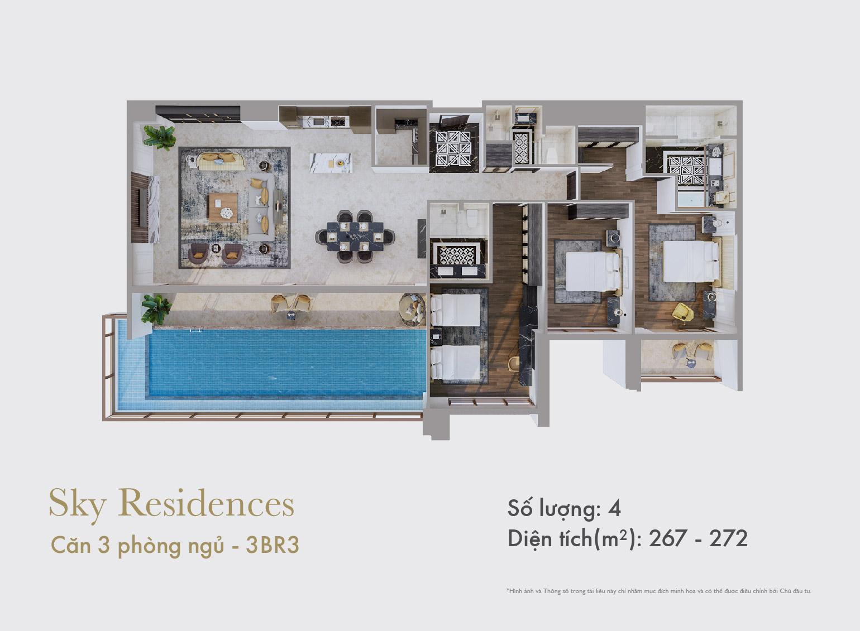Sky Residences - Mặt bằng căn 3 phòng ngủ mẫu 2
