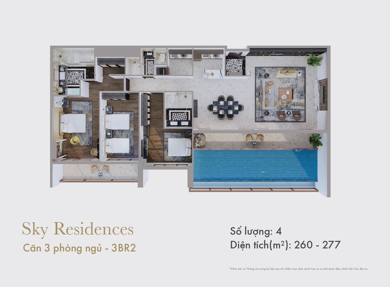 Sky Residences - Mặt bằng căn 3 phòng ngủ mẫu 3