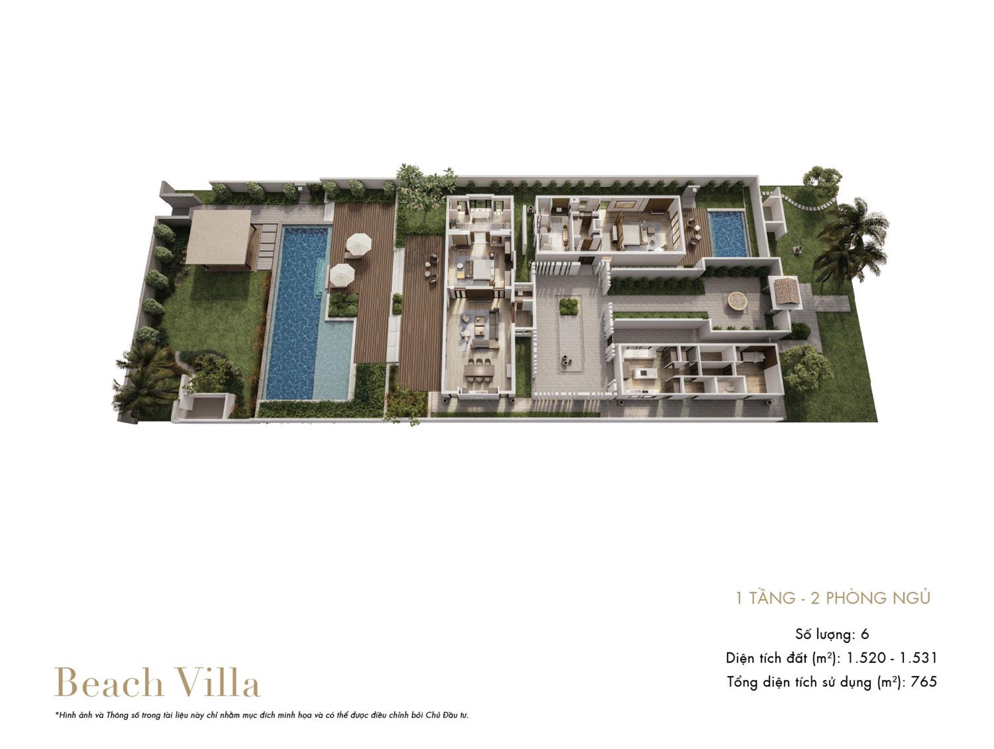 Park Hyatt Phu Quoc - mặt bằng Beach Villa 2PN