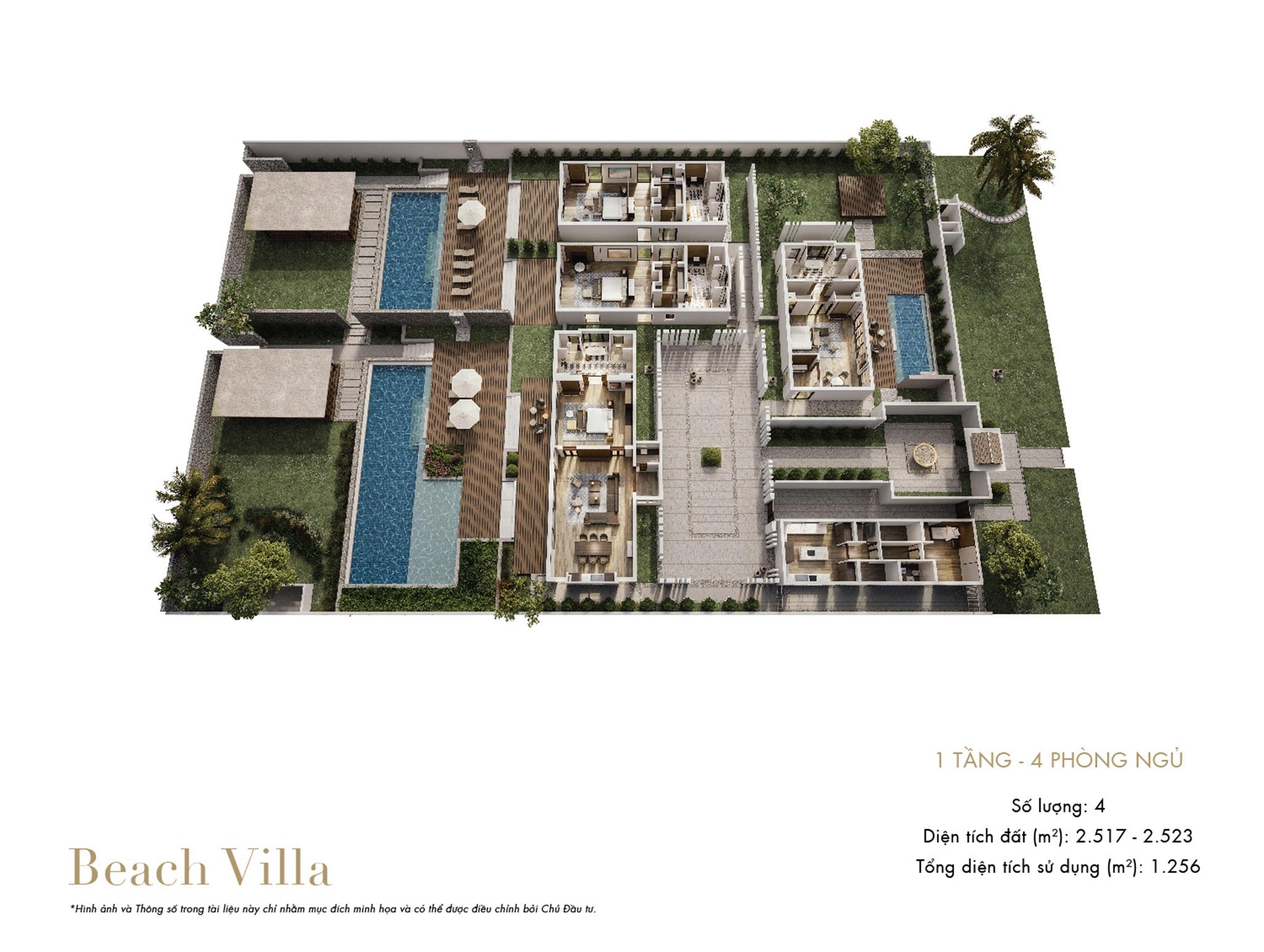 Park Hyatt Phu Quoc - mặt bằng Beach Villa 4PN