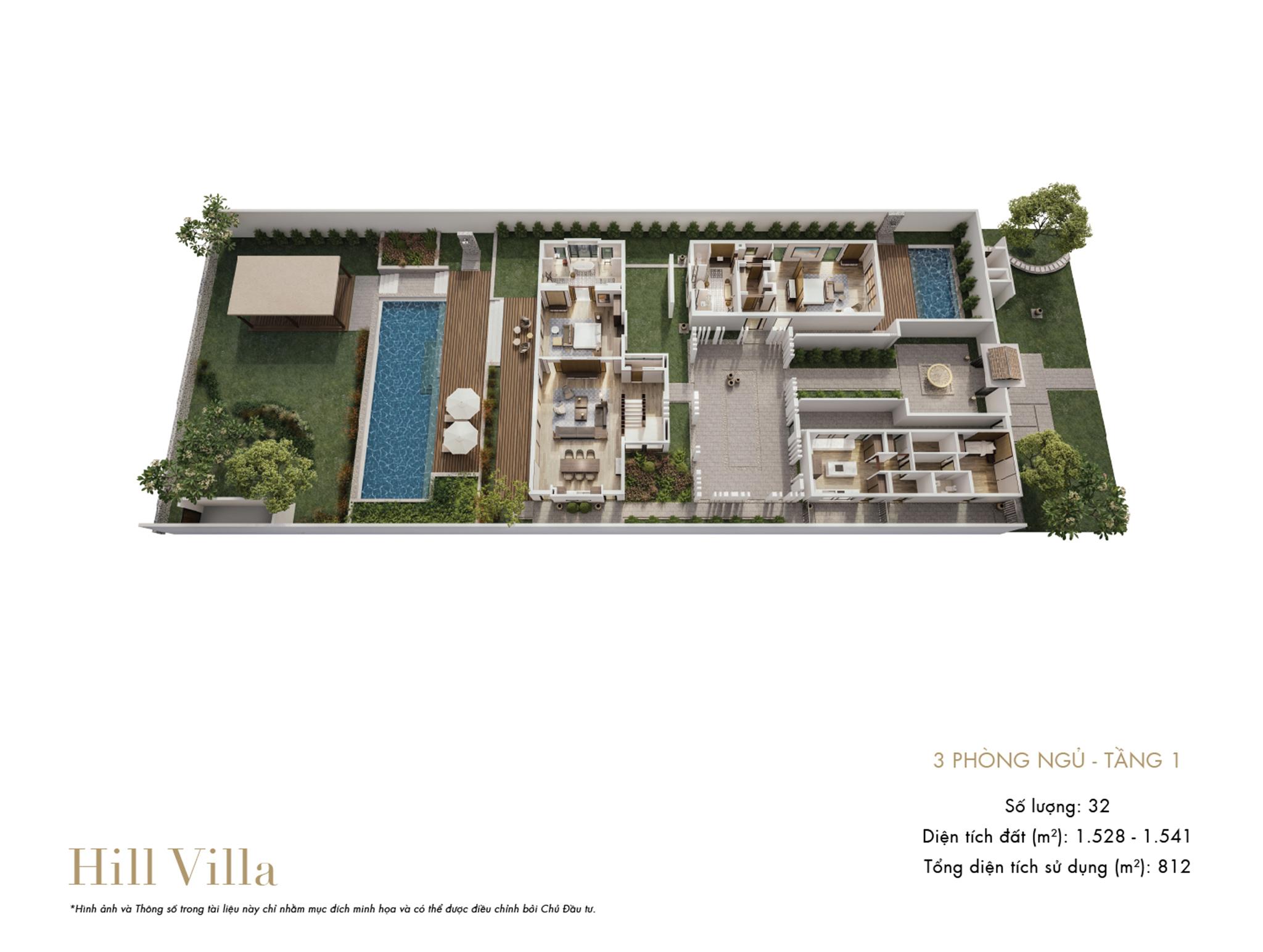 Park Hyatt Phu Quoc - mặt bằng Hill Villa 3PN tầng 1